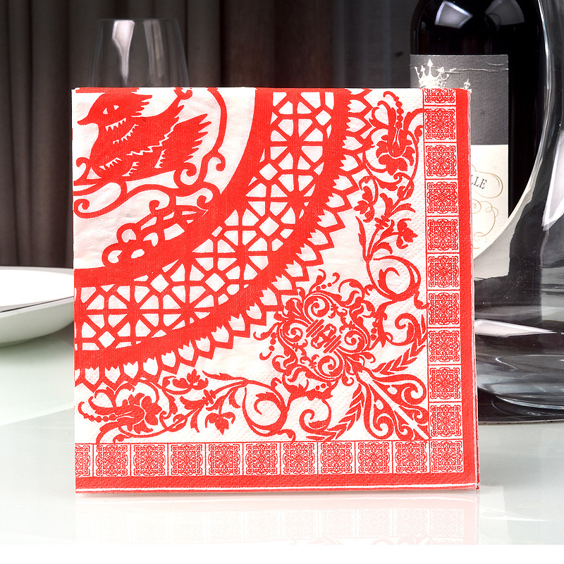 Traditional Chinese Wedding Table Decoration Napkins Disposable Restaurant Party Table Paper Napkins Mat 20pcs/Pack 33cm*30cm