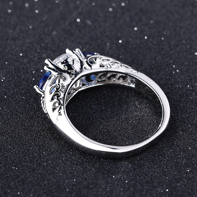 Bague Ringen Classic 100% 925 Sterling Silver Sapphire Gemstone Wedding Engagement Rings for Women Fine Jewelry Gift Wholesale 5