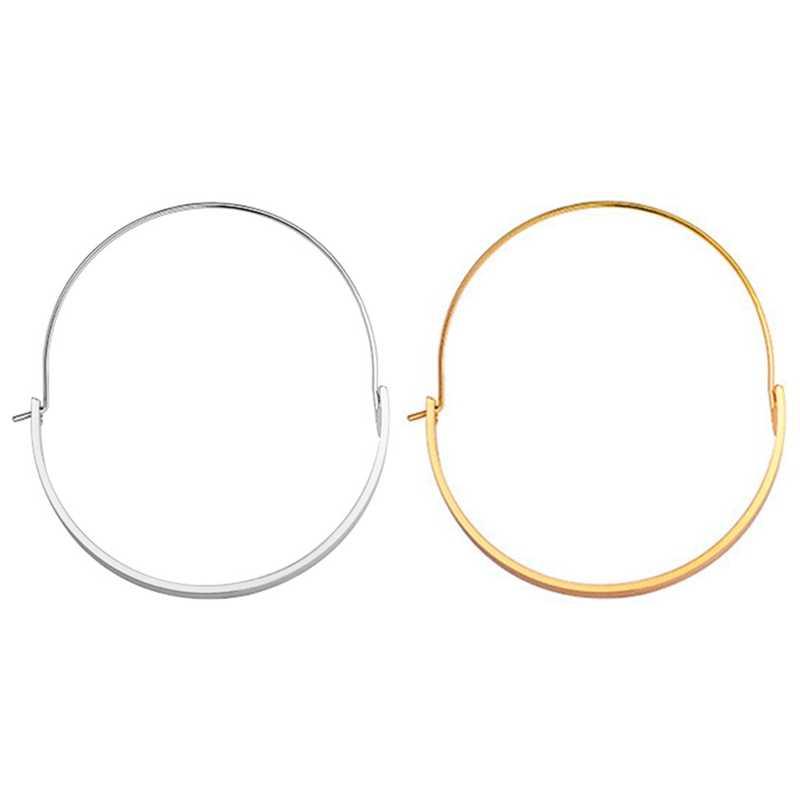 Anggun Besar Lingkaran Hoop Anting-Anting Modis Perhiasan Minimalis Emas Perak Warna Busur Halus Piring Sepanjang Anting-Anting untuk Wanita