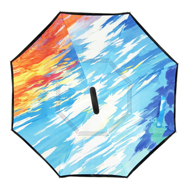 Fancytime Windproof Reverse Umbrella Rain Women Folding Double Layer Inverted Umbrella for Men Self Stand Women's Umbrella