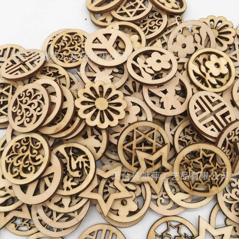 100 шт 3 см круглые деревянные диски с отверстиями на день рождения доски бирки и кольца для искусства и ремесла