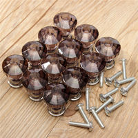 Lowest Price 12Pcs Crystal Clear Door Drawer Cabinet Furniture Cupboard Handle Knob Kitchen 4 Colors Black
