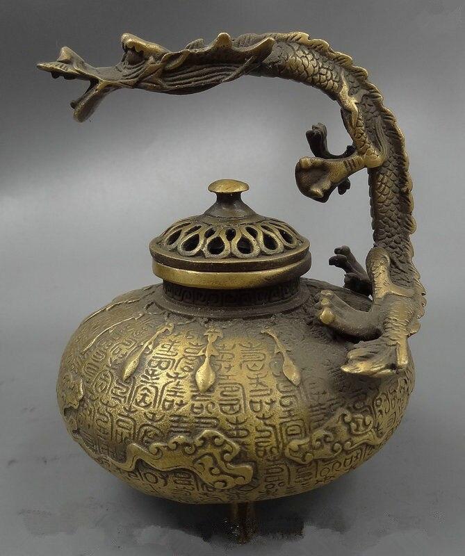 Bouddhisme tibétain brûleur d'encens en bronze statue de dragon de bon augure chinois