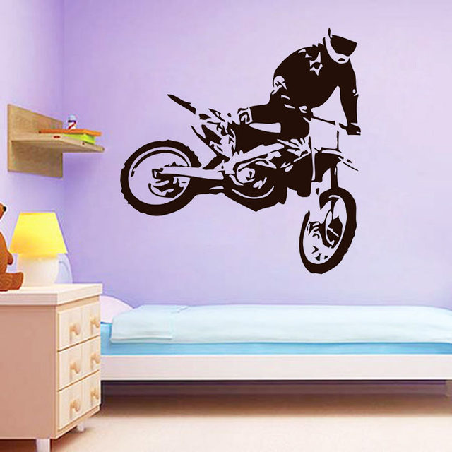 Motocross Wall Stickers Jumps Motorcycle Home Decor Removable Vinyl Adhesive Living Room Decoration Children Kid Boys Decal