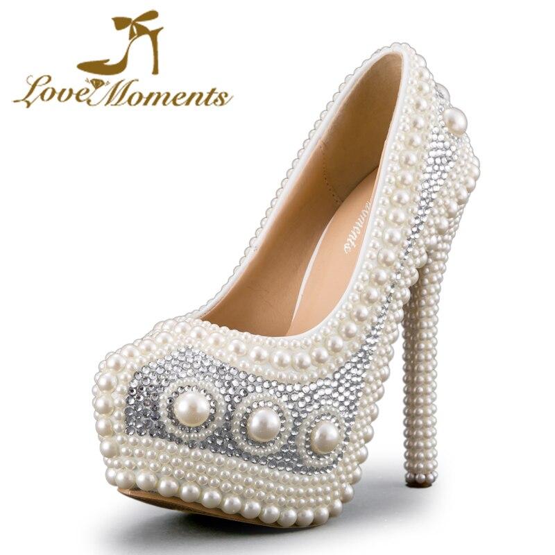 Ivoire Imitation perle robe de mariée chaussures de banquet de noël chaussures 34-43 retour cérémonie pompes à talons hauts plate-forme fête chaussure