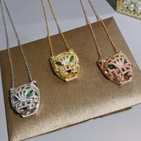 Hot luxury jewelry, tricolor fashion Leopard head necklace, long sweater chain, hip hop trends, punk, couple necklaces
