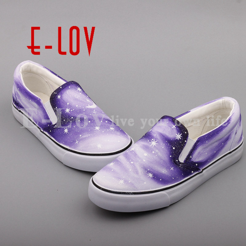 E-LOV Fashion Hand Painted Galaxy Stars Canvas Shoes Shinning Starry Sky Casual Slip On Loafers Women e lov women casual walking shoes graffiti aries horoscope canvas shoe low top flat oxford shoes for couples lovers