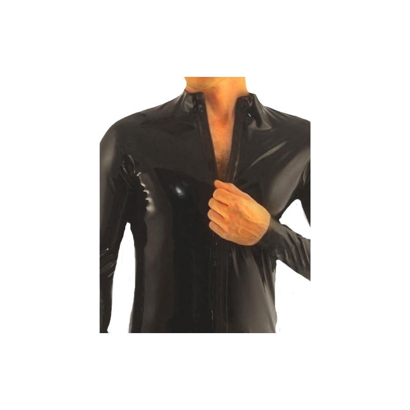 100% Latex hommes longs Slevees pur noir beau haut Sport serré manteau avec fermeture éclair taille XXS-XXL