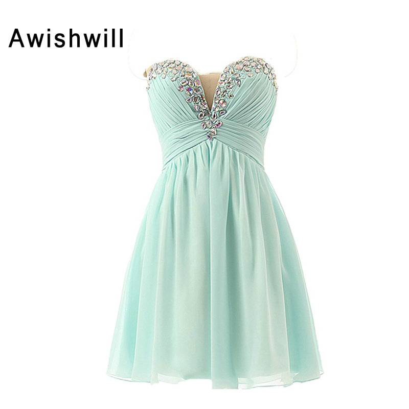 Hot Sale Sleeveless Beadings Rhinestones Chiffon Short Mimi Party Prom Cocktail Homecoming Dress Grils Gowns Fast Shipping