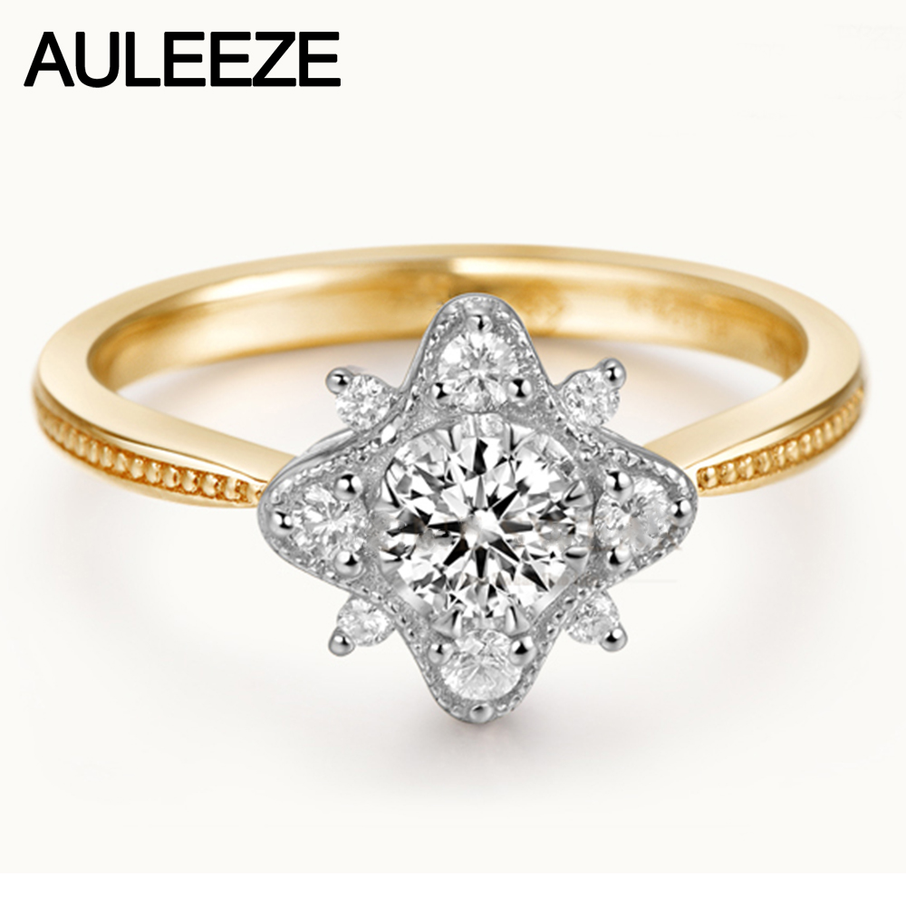 Snowflake 0.4ct Moissanite Engagement Rings For Women 925 Sterling Silver Halo Lab Grown Diamond Wedding Ring Silver Jewelry