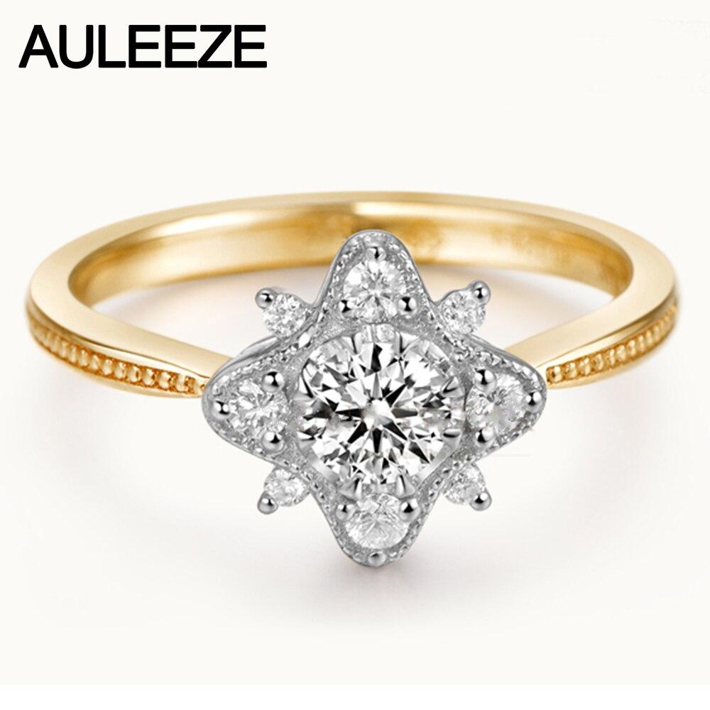 Flocon de neige 0.4ct Moissanite bagues de fiançailles pour femmes 925 argent Sterling Halo Lab cultivé diamant bague de mariage bijoux en argent