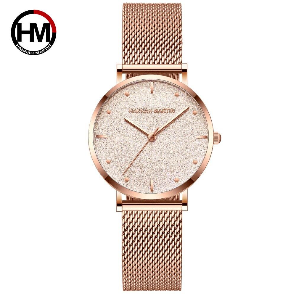 Relojes de mujer superior de la marca de lujo de Japón movimiento de cuarzo de acero inoxidable plata Dial blanco impermeable relojes reloj femenino