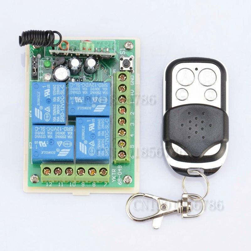 315MHz/433Mhz DC 12V 4CH Wireless Remote Control Switch System
