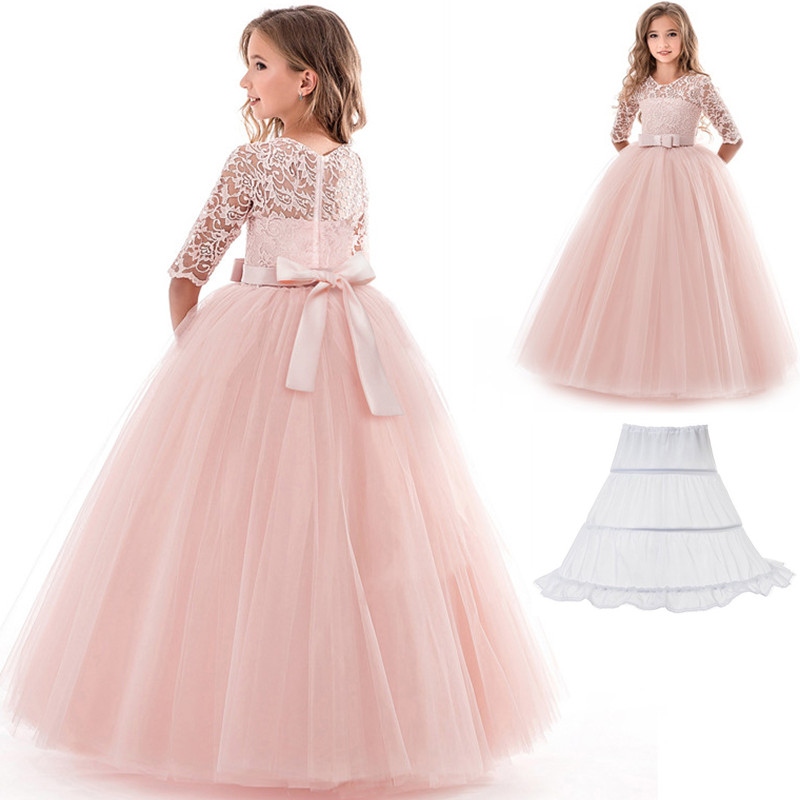 Summer Kids Dresses For Girl Teenage Children Teenager Wedding Communion Lace Graduation Gown 9 10 12 14 Yrs Birthday Outfits