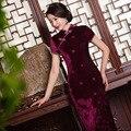 TIC-TEC китайский cheongsam qipao бархат Вышивать тонкий vintage женщины восточные платья tradicional партии прополка одежда P2841