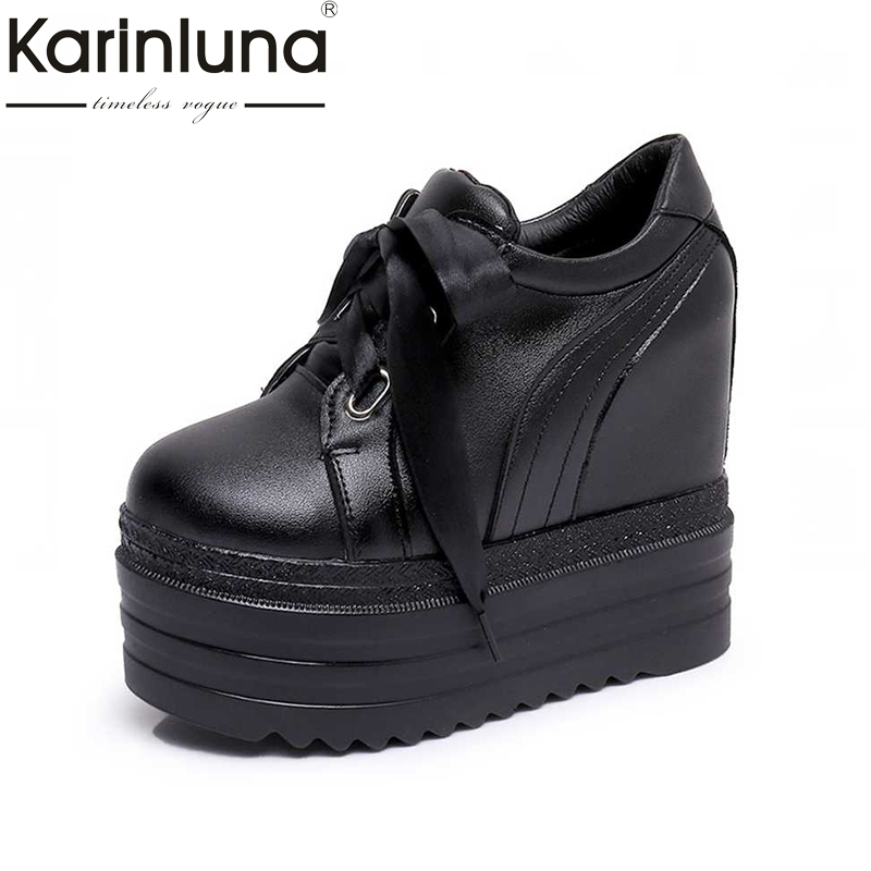 KARINKUNA New Women pumps Shoes Vintage Lace Up Hidden High Heel Wedge Platform Shoes 2017 Leisure