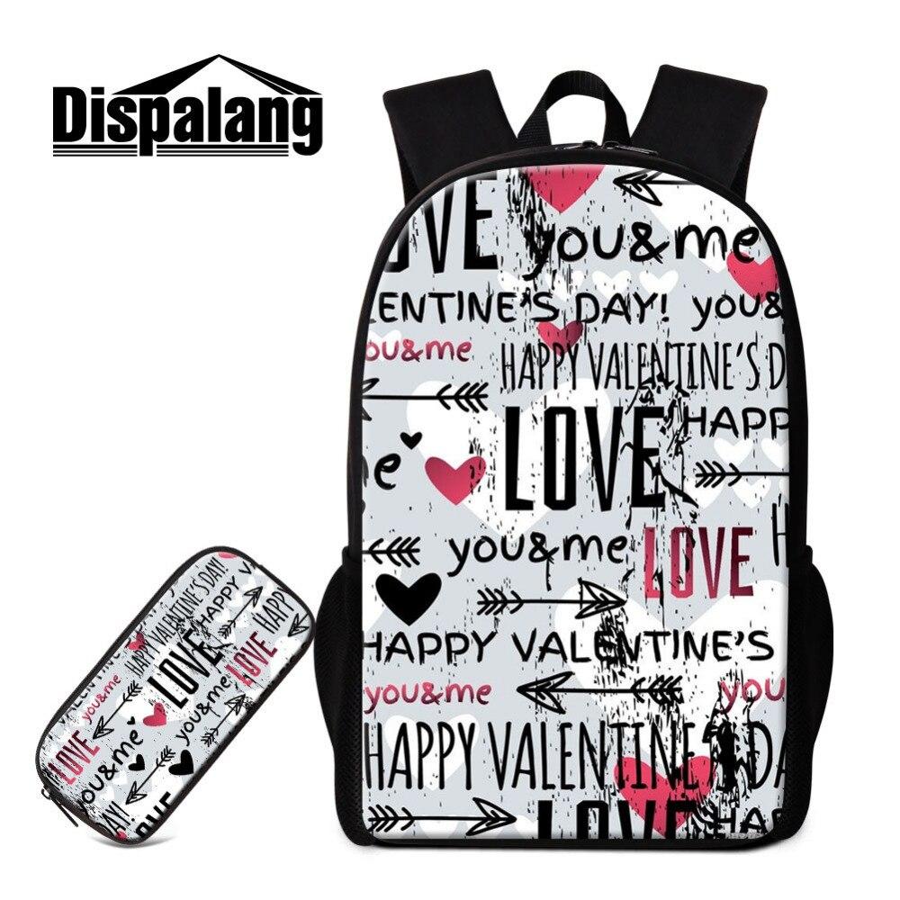 Dispalang Love 16 inch Backpack Sets for Teenagers Girls Boys Book Bag  Pencil Case Graffiti Children School Backpacks Pencil Bag b75bfaefff6c1