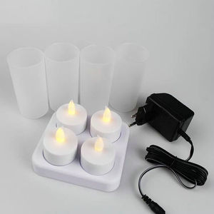 Image 5 - Набор из 4 матовых перезаряжаемых беспламенных светодиодных свечей для свечей с Беспламенной лампой для рождественской свадебной вечеринки 110В/220В на выбор янтарный