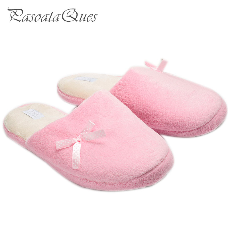 Pink Women Home Slippers House Female Slippers For Indoor Bedroom House Soft Bottom Room Shoes Adult Plush Flats Christmas Gift soft house coral plush slippers shoes white