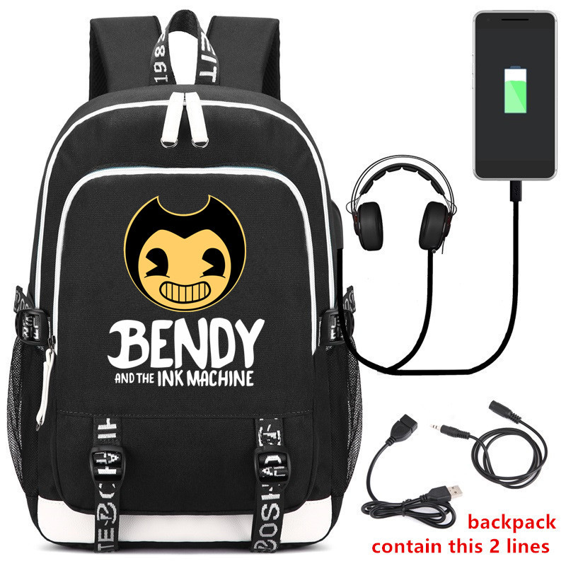 2020 New Bendy and The Ink Machine Backpack USB Charging Laptop Backpack for Teens Male Travel Student Backpack Cute School Bags