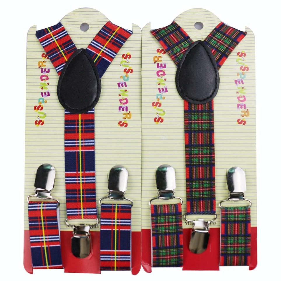Winfox Fashion Plaid Print Children Suspenders For Boy Girls Y-shape Elatic Suspenders Belt Strap Shirts Braces