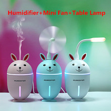 2019 New 3 In 1 Air Humidifier Ultrasonic Mini Fan LED Table Lamp 320ML Large Capacity USB Oil Aroma Diffuser Charge For Home