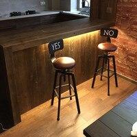 Регулируемый по высоте вращающийся барный стул из натурального соснового дерева, обеденный стул промышленного стиля, барная мебель