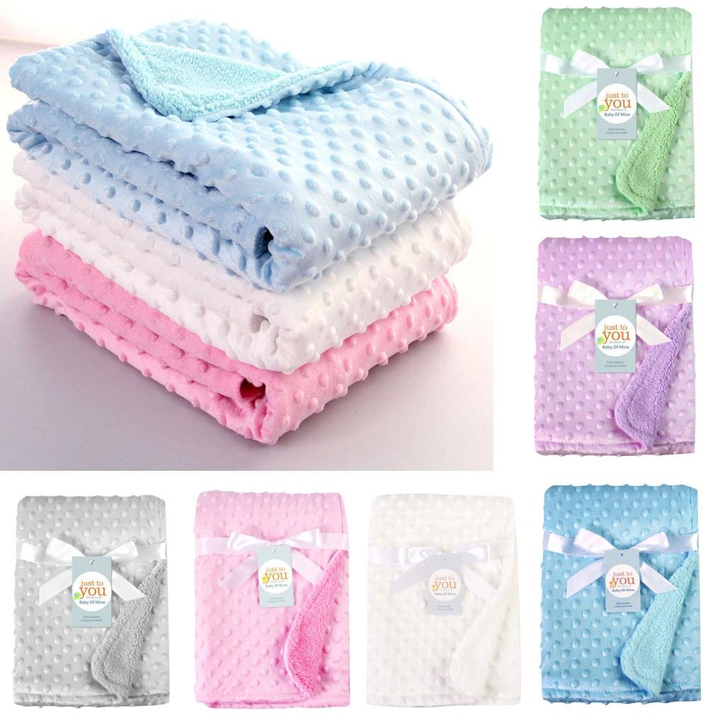 High Quality Baby Blanket Swaddling Newborn Thermal Soft Fleece Blanket Solid Bedding Set Cotton Quilt Gg