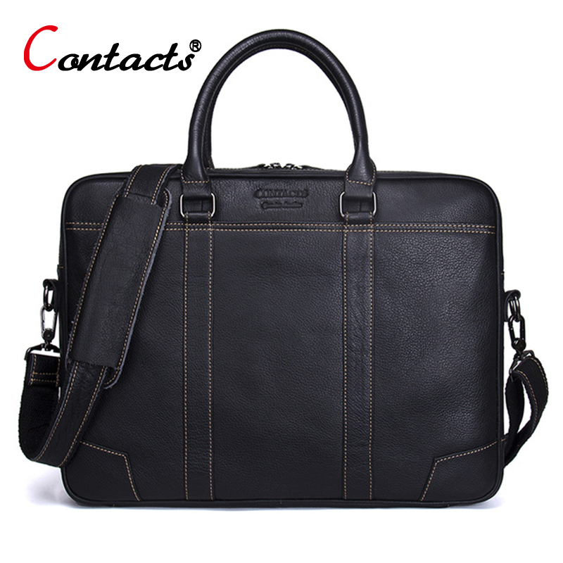 CONTACTS Men Bag Genuine Leather Computer Tote Laptop Bag Handbag Briefcase Office Bags Male Designer Men Shoulder Bag NewCONTACTS Men Bag Genuine Leather Computer Tote Laptop Bag Handbag Briefcase Office Bags Male Designer Men Shoulder Bag New