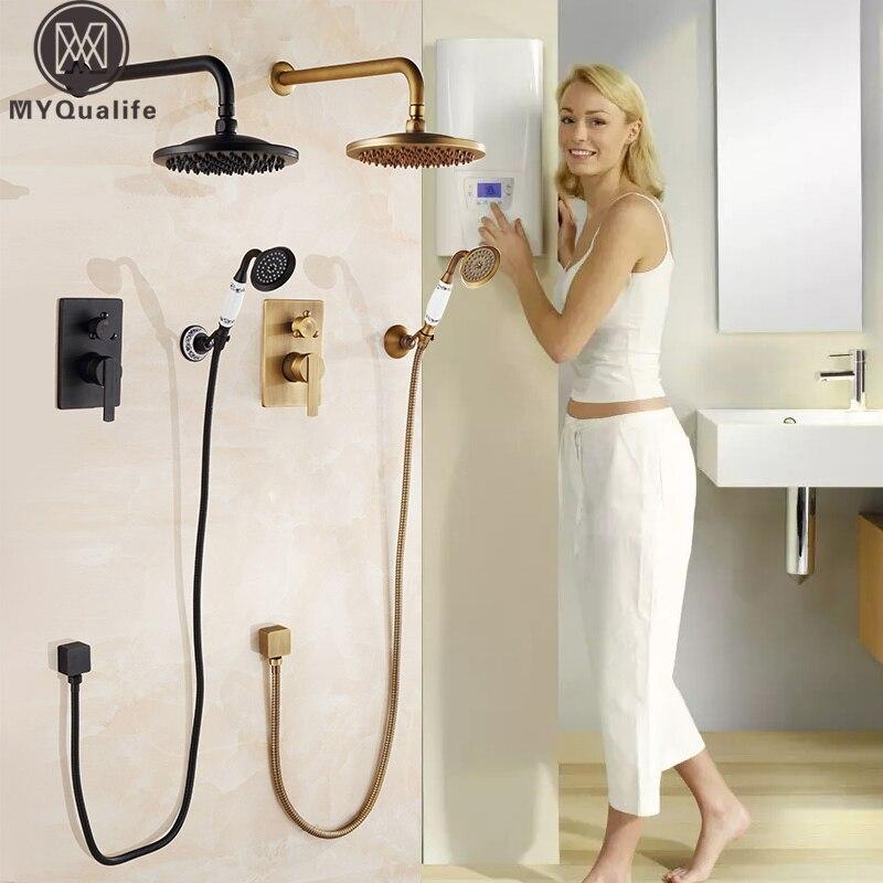 Скрытые Ванная комната смеситель для душа настенное крепление душевой смеситель античная латунь 8 Осадки с Handshower набор для душа