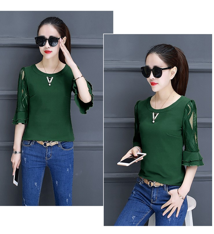 Women Blouse Summer Tops 2018 New Arrival Patchwork Blusas Mujer Lace Flare Sleeve Female Shirts Khaki Green Yellow  (10)