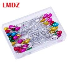 LMDZ 100 шт. удлиненные шпильки с жемчужной головкой, Прямые Швейные шпильки для корсажа, выездных цветов, швейные булавки с пластиковой коробкой