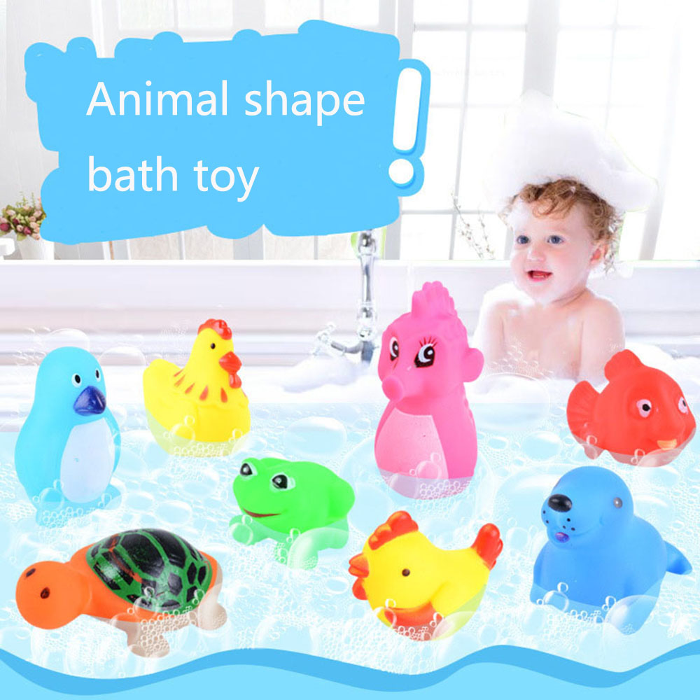 5 Pcs//Set Floating Silicone Bathing Shower Squeeze-sounding Toys for Kids Cats