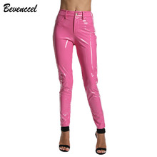 BEVENCCEL COLOR 2019 Trousers Sexy Bodycon Winter PU Leather Pants Solid Casual
