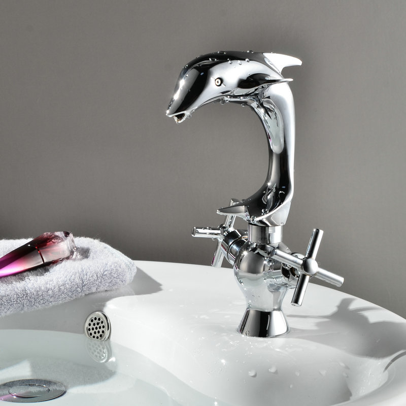 Modern Bathroom Basin Faucet New Dolphin Waterfall Design/Brass Chrome Finish Dual Handle Sink Faucets,Mixers&Hot And Cold Taps
