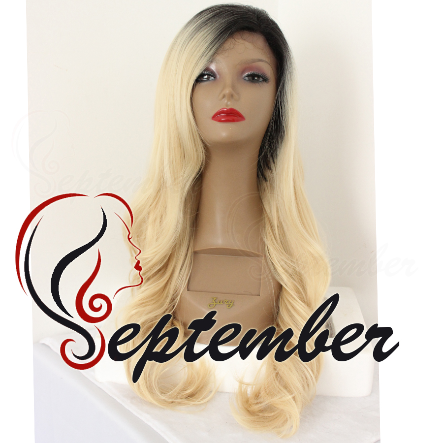 #613 color ombre body wave synthetic lace front wig black root glueless heat resistant synthetic lace front wig for black women