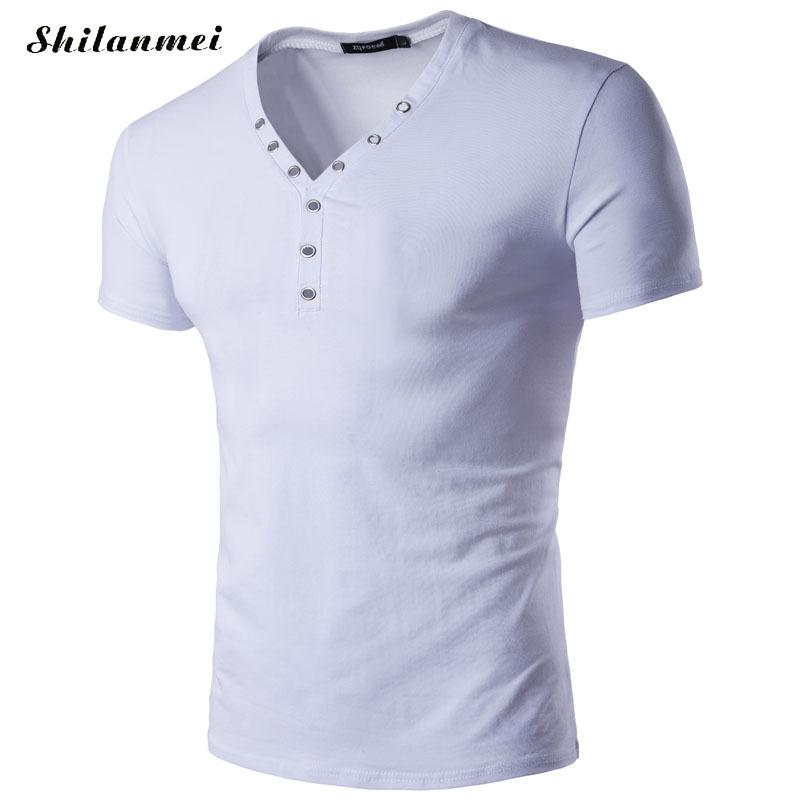 Hollow v neck White Men T-shirt Slim Fit Short Sleeves Undershirts Male Solid Cotton Mens Tee Summer Brand Clothing Blue Red xxl