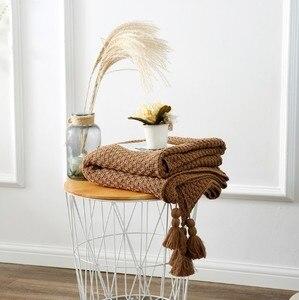 Image 4 - Manta de algodón CAMMITEVER, mantas de invierno para uso doméstico y cálido para adultos, manta de ganchillo europea para cama, sofá, alfombra