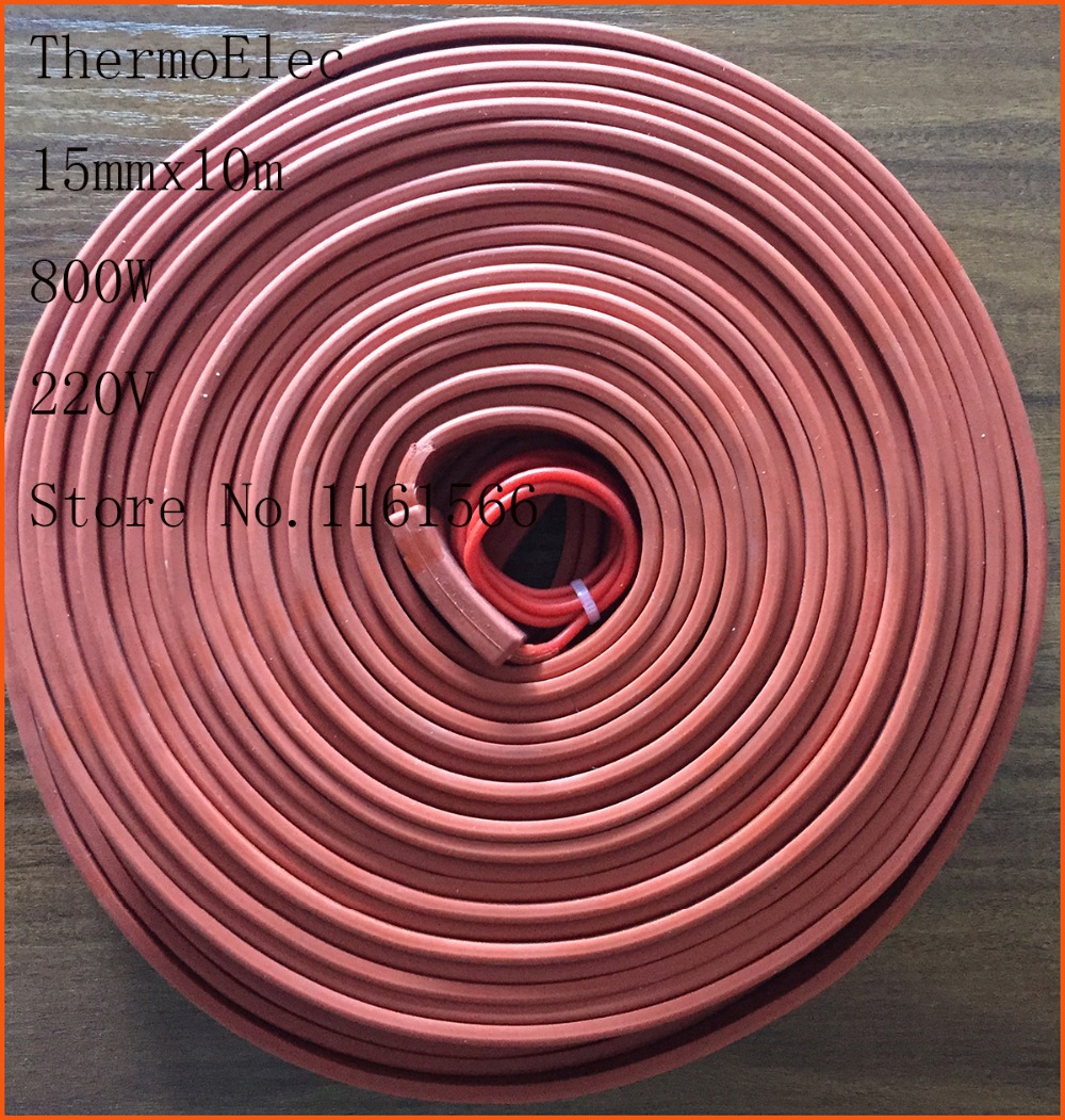 15mmx10m 800W 220V electric High quality flexible Silicone Heating belt heat tracing belt Silicone Rubber Pipe Heater waterproof 15mm 4200mm 200w 220v silicone pipe heater tube heating tape heating belt silicone flexible heating band heaters pipe heat