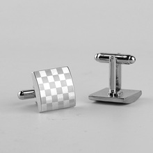 Men's Classic Style Cufflinks with Chessboard Themed Pattern
