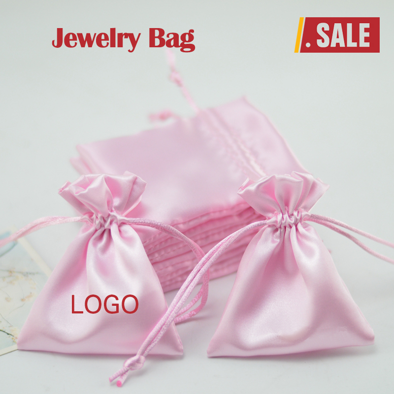 Satin Drawstring Bags Pouches For Packaging Jewelry/Gift/Makeup/Storage/Wedding/Earrings/Bead Sack Custom Logo Print 100p