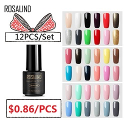 (12PCS/SET)ROSALIND Gel Nail Polish Gel Polish Semi Permanent UV Enamel Hybrid Nail Art Off Varnish White Manicure Nails
