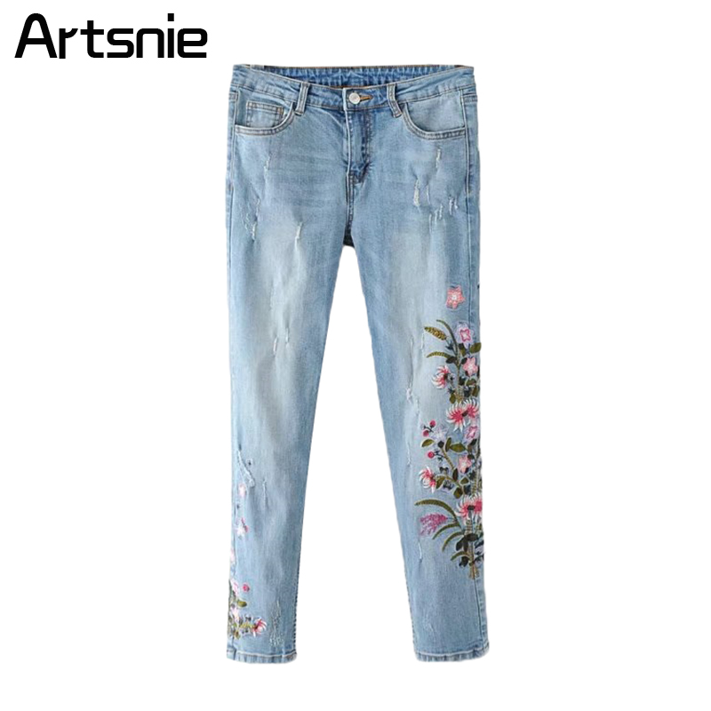 Artsnie Blue Denim Embroidery Hole Summer Pencil Pants Women High Waist Streetwear Boyfriend Skinny Jeans Pants Femme 2018