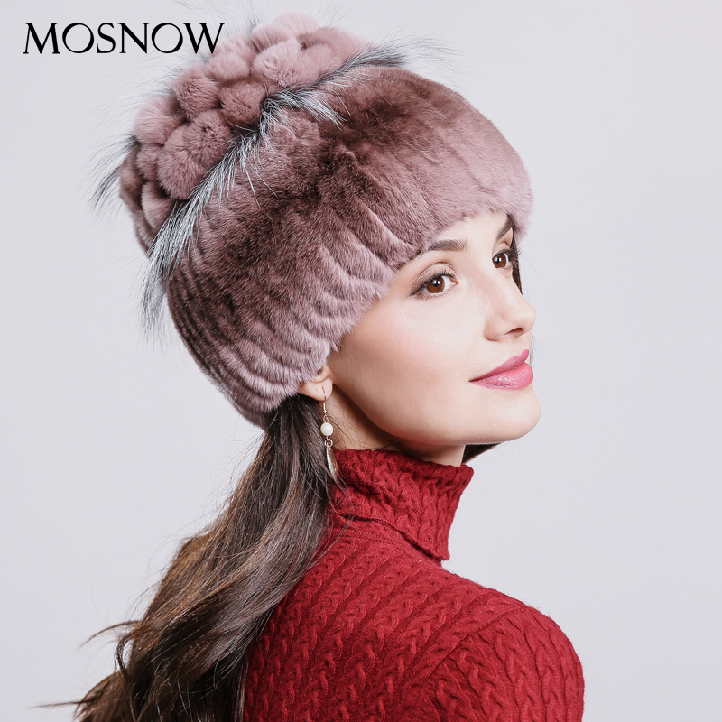MOSNOW Rex Rabbit Fur Women Hat Female Luxury Fashion Unique Design Flower Top Brand 2018 Winter Hats   Skullies     Beanies   #PCM709