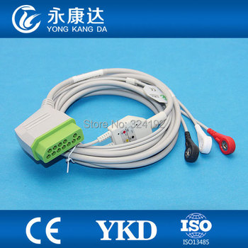 3pcs/pack Nihon Kohden 12pin patient monitor one-piece ECG cable with 3-lead , snap / AHA,CE&ISO13485, Free shipping