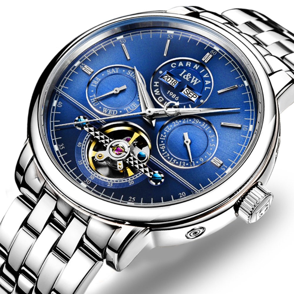 все цены на CARNIVAL Fashion Perpetual Calendar Men's Watches Tourbillon Automatic Watch Men Calendar Week Luminous Mechanical watches Men