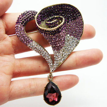 Nueva elegancia romántica lirio flores Art Nouveau decoración broche Pin púrpura Diamante de imitación de cristal