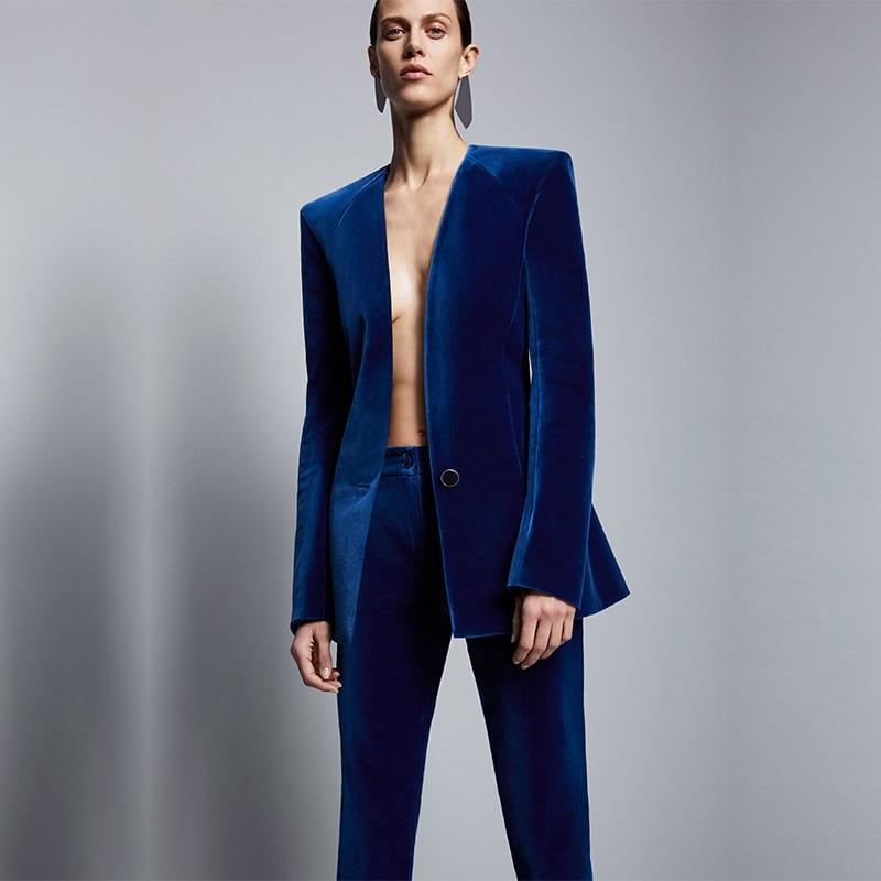 Королевский синий бархатный пиджак + брюки, формальный элегантный брючный костюм, женские деловые костюмы, облегающие Женские офисные униф