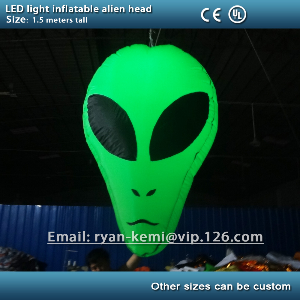 green party decoration LED light inflatable alien head Hallowmas Halloween event decorative led lighted stage inflatable wedding decoration inflatable column led lighted inflatable column