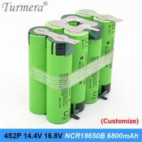 4s2p battery 18650 pack ncr18650b 6800mah 16.8v 14.4v welding solder battery for screwdriver tools battery customized battery ja